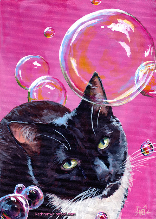 Cat Portrait in Acrylics with Bubbles