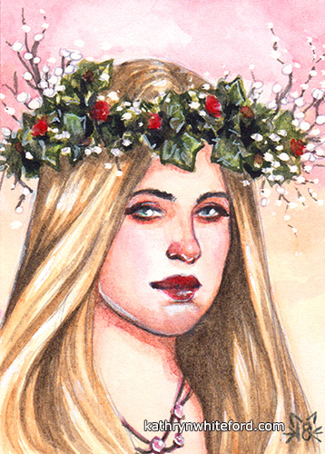 """Garland Girl"" Watercolour painting, ACEO/ATC"