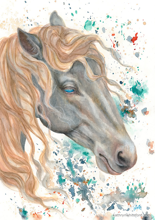 """""""Horse in Watercolour"""" Coloured pencils over watercolours, A4"""