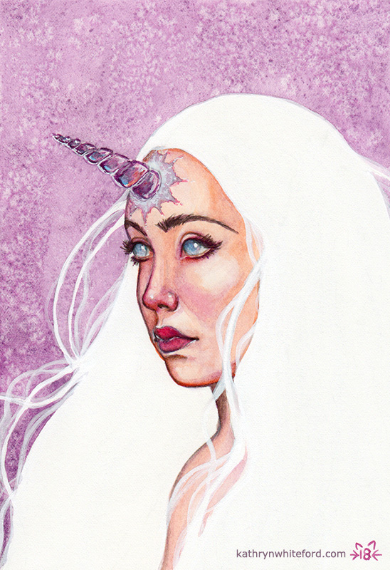 """Unicorn Girl"" Watercolour painting on watercolour paper, 5x7 inches"