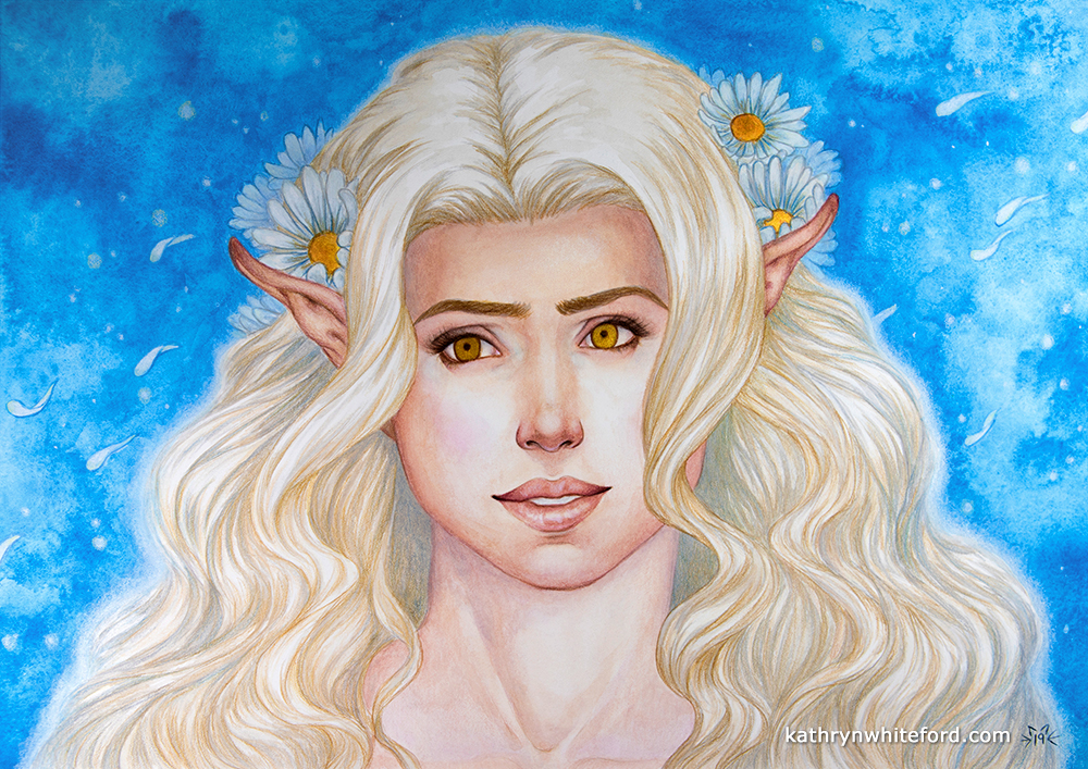 """Daisy Elf"" Coloured pencils over watercolours, A3"