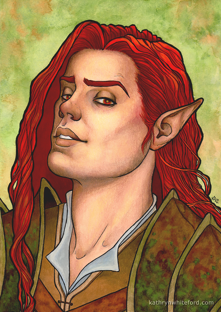 """""""Red Haired Elf"""" Coloured pencils over watercolours, A4"""